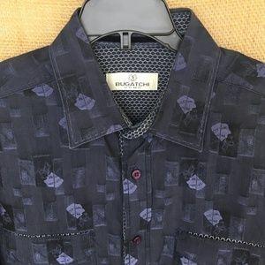 Bugatchi Navy Blue Shaped Fit Shirt Flip Cuff Lg